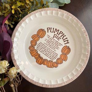 VINTAGE Pumpkin Pie Porcelain Plate Dish Recipe